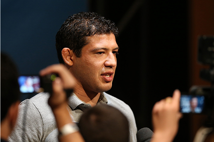 LAS VEGAS, NV - JULY 03:  The Ultimate Fighter season 20 coach Gilbert Melendez interacts with media during the UFC Ultimate Media Day at the Mandalay Bay Resort and Casino on July 3, 2014 in Las Vegas, Nevada.  (Photo by Josh Hedges/Zuffa LLC/Zuffa LLC v