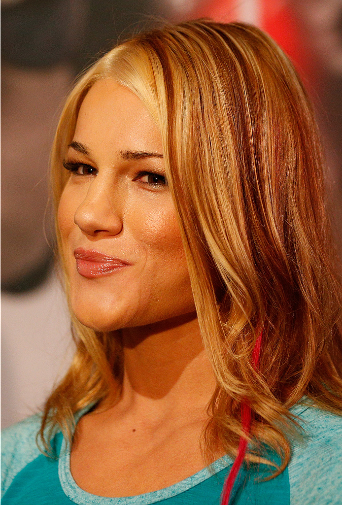 LAS VEGAS, NV - JULY 03:  The Ultimate Fighter season 20 fighter Felice Herrig interacts with media during the UFC Ultimate Media Day at the Mandalay Bay Resort and Casino on July 3, 2014 in Las Vegas, Nevada.  (Photo by Josh Hedges/Zuffa LLC/Zuffa LLC vi