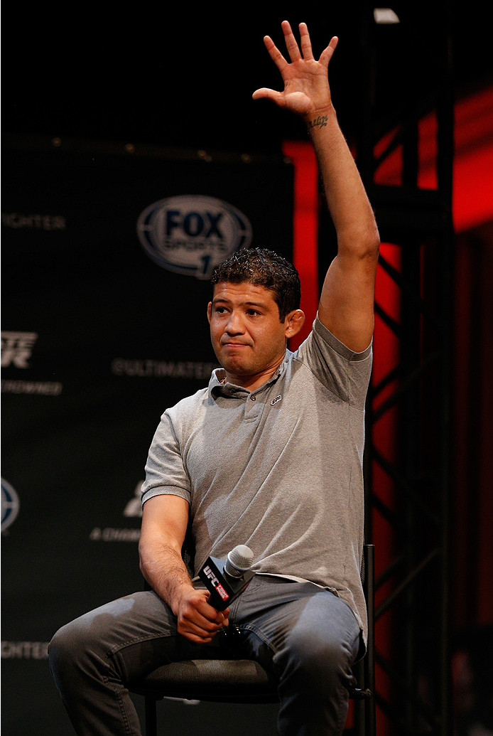 LAS VEGAS, NV - JULY 03:  Gilbert Melendez interacts with fans during the UFC Ultimate Media Day at the Mandalay Bay Resort and Casino on July 3, 2014 in Las Vegas, Nevada.  (Photo by Josh Hedges/Zuffa LLC/Zuffa LLC via Getty Images)