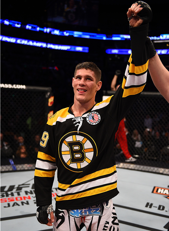 BOSTON, MA - JANUARY 18:  Charles Rosa reacts after defeating Sean Soriano during a featherweight fight during the UFC Fight Night event at the TD Garden on January 18, 2015 in Boston, Massachusetts. (Photo by Jeff Bottari/Zuffa LLC/Zuffa LLC via Getty Im