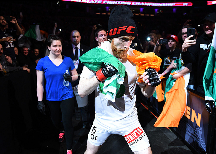 BOSTON, MA - JANUARY 18:  Paddy Holohan enters the arena before a flyweight fight against Shane Howell during the UFC Fight Night event at the TD Garden on January 18, 2015 in Boston, Massachusetts. (Photo by Jeff Bottari/Zuffa LLC/Zuffa LLC via Getty Ima
