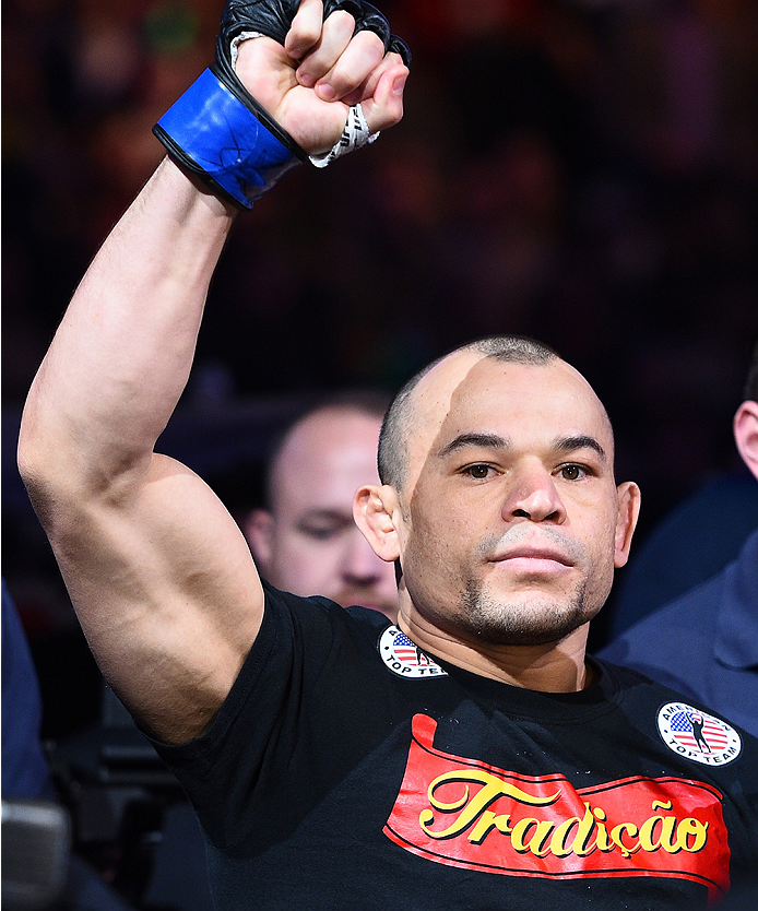BOSTON, MA - JANUARY 18:  Gleison Tibau enters the arena before a lightweight fight against Norman Parke during the UFC Fight Night event at the TD Garden on January 18, 2015 in Boston, Massachusetts. (Photo by Jeff Bottari/Zuffa LLC/Zuffa LLC via Getty I