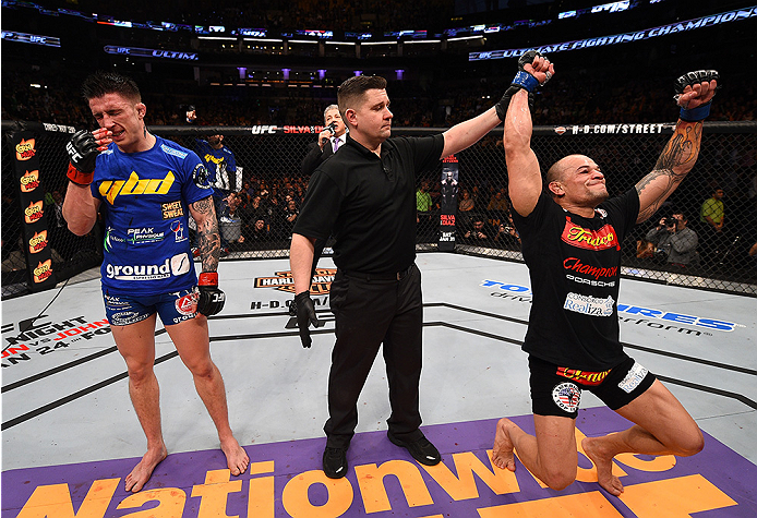 BOSTON, MA - JANUARY 18: (L-R) Gleison Tibau and Norman Parke react after Tibau defeated Parke in their lightweight fight during the UFC Fight Night event at the TD Garden on January 18, 2015 in Boston, Massachusetts. (Photo by Jeff Bottari/Zuffa LLC/Zuff