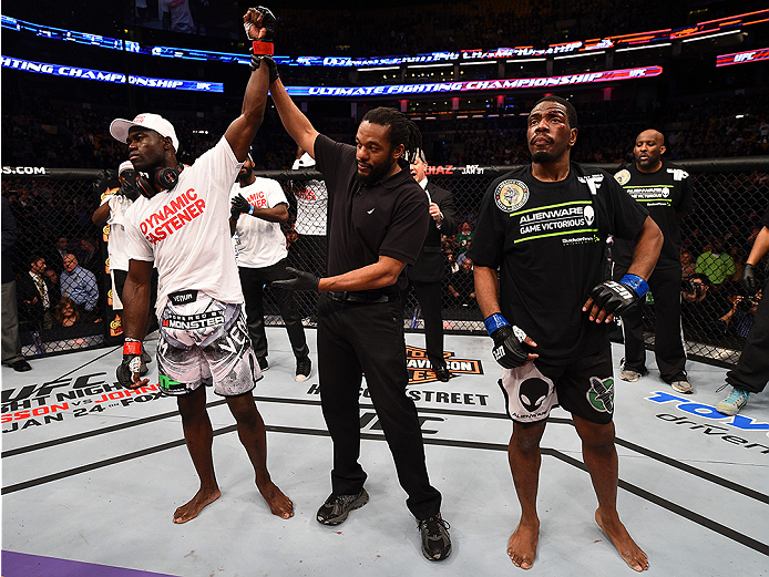 BOSTON, MA - JANUARY 18:  Uriah Hall reacts after defeating Ron Stallings in their middleweight fight during the UFC Fight Night event at the TD Garden on January 18, 2015 in Boston, Massachusetts. (Photo by Jeff Bottari/Zuffa LLC/Zuffa LLC via Getty Imag