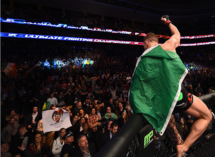 BOSTON, MA - JANUARY 18:  Conor McGregor of Ireland reacts after defeating Dennis Siver of Germany in their featherweight fight during the UFC Fight Night event at the TD Garden on January 18, 2015 in Boston, Massachusetts. (Photo by Jeff Bottari/Zuffa LL