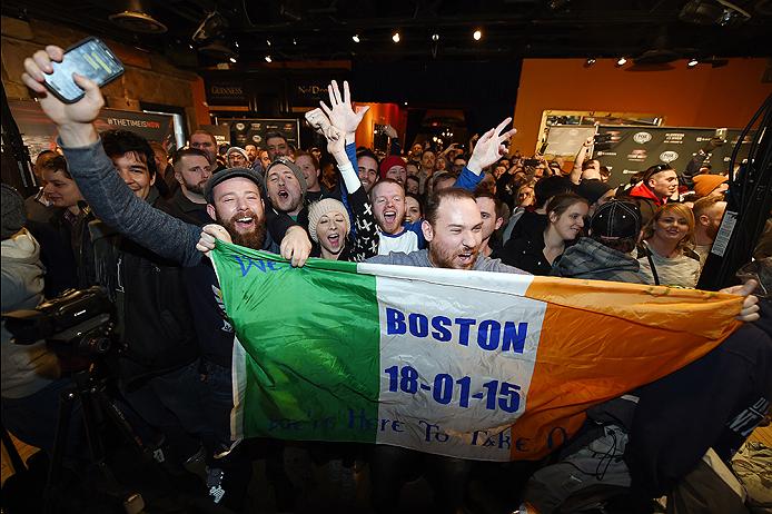 BOSTON, MA - JANUARY 16:  Fans interact with media and fighters at Faneuil Hall on January 16, 2015 in Boston, Massachusetts. (Photo by Jeff Bottari/Zuffa LLC/Zuffa LLC via Getty Images)