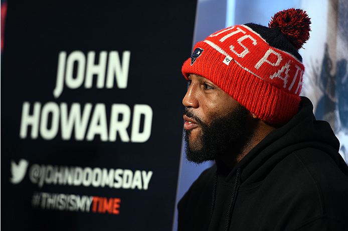 BOSTON, MA - JANUARY 16:  UFC welterweight John Howard interacts with media at Faneuil Hall on January 16, 2015 in Boston, Massachusetts. (Photo by Jeff Bottari/Zuffa LLC/Zuffa LLC via Getty Images)