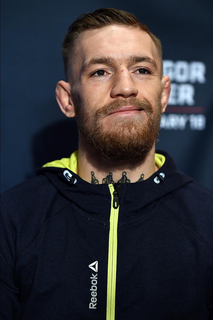 BOSTON, MA - JANUARY 16:  UFC featherweight Conor McGregor of Ireland interacts with media at Faneuil Hall on January 16, 2015 in Boston, Massachusetts. (Photo by Jeff Bottari/Zuffa LLC/Zuffa LLC via Getty Images)