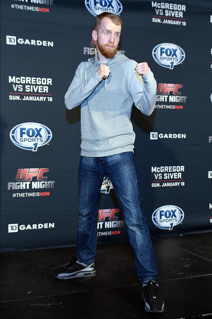 BOSTON, MA - JANUARY 16:  UFC flyweight Paddy Holohan of Ireland interacts with media at Faneuil Hall on January 16, 2015 in Boston, Massachusetts. (Photo by Jeff Bottari/Zuffa LLC/Zuffa LLC via Getty Images)