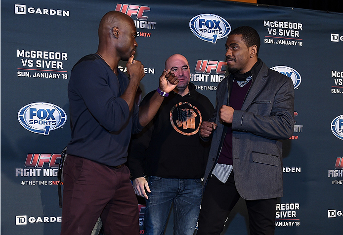 BOSTON, MA - JANUARY 16:  (L-R) UFC middleweights Uriah Hall and Ron Stallings face off for the media at Faneuil Hall on January 16, 2015 in Boston, Massachusetts. (Photo by Jeff Bottari/Zuffa LLC/Zuffa LLC via Getty Images)