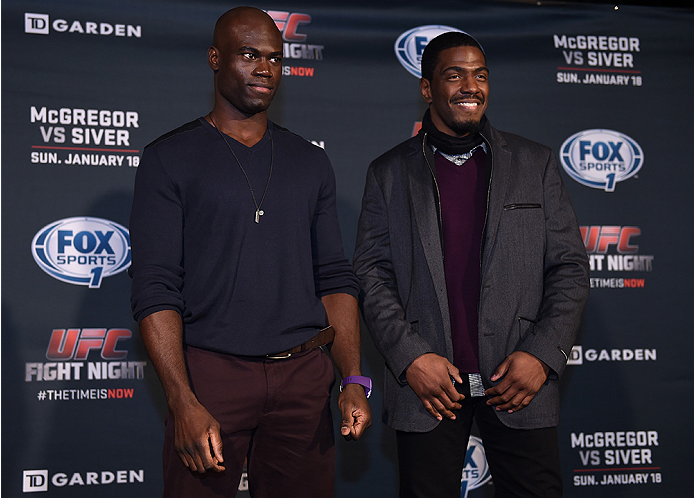 BOSTON, MA - JANUARY 16:  (L-R) UFC middleweights Uriah Hall and Ron Stallings pose for the media at Faneuil Hall on January 16, 2015 in Boston, Massachusetts. (Photo by Jeff Bottari/Zuffa LLC/Zuffa LLC via Getty Images)