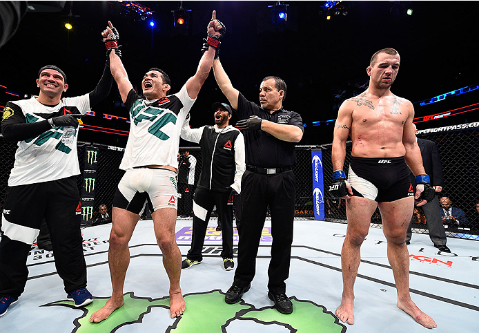 BOSTON, MA - JANUARY 17:  Francimar Barroso of Brazil celebrates after his unanimous-decision victory over Elvis Mutapcic of Bosnia in their light heavyweight bout during the UFC Fight Night event inside TD Garden on January 17, 2016 in Boston, Massachuse