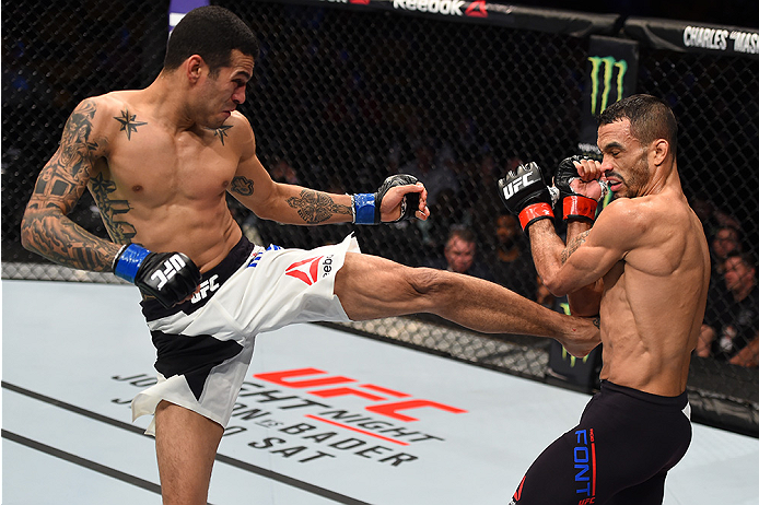 BOSTON, MA - JANUARY 17:  (L-R) Joey Gomez kicks Rob Font in their bantamweight bout during the UFC Fight Night event inside TD Garden on January 17, 2016 in Boston, Massachusetts. (Photo by Jeff Bottari/Zuffa LLC/Zuffa LLC via Getty Images)