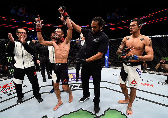 BOSTON, MA - JANUARY 17:  Rob Font celebrates after his TKO victory over Joey Gomez in their bantamweight bout during the UFC Fight Night event inside TD Garden on January 17, 2016 in Boston, Massachusetts. (Photo by Jeff Bottari/Zuffa LLC/Zuffa LLC via G