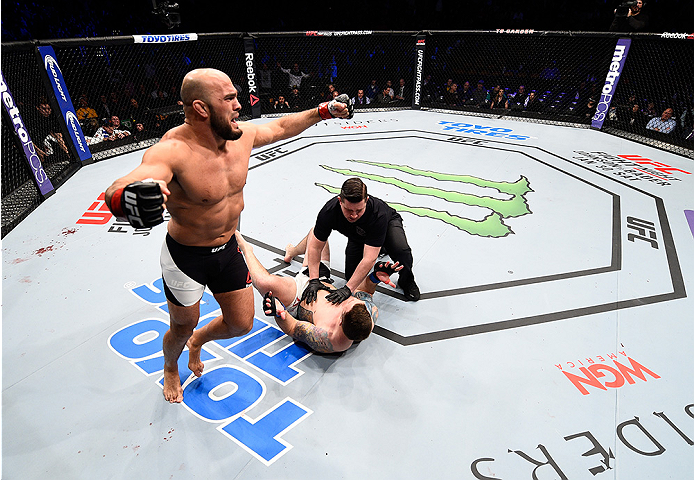 BOSTON, MA - JANUARY 17:  Ilir Latifi of Sweden celebrates after his TKO victory over Sean OConnell in their light heavyweight bout during the UFC Fight Night event inside TD Garden on January 17, 2016 in Boston, Massachusetts. (Photo by Jeff Bottari/Zuff