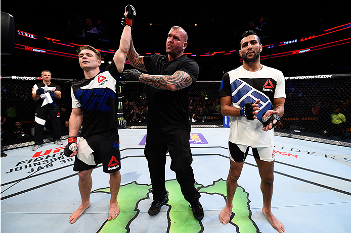 BOSTON, MA - JANUARY 17:  Chris Wade (L) celebrates after his submission victory over Mehdi Bahgdad of France in their lightweight bout during the UFC Fight Night event inside TD Garden on January 17, 2016 in Boston, Massachusetts. (Photo by Jeff Bottari/