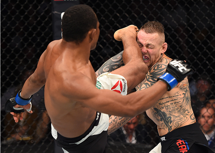 BOSTON, MA - JANUARY 17:  (L-R) Francisco Trinaldo of Brazil kicks Ross Pearson of England in their lightweight bout during the UFC Fight Night event inside TD Garden on January 17, 2016 in Boston, Massachusetts. (Photo by Jeff Bottari/Zuffa LLC/Zuffa LLC