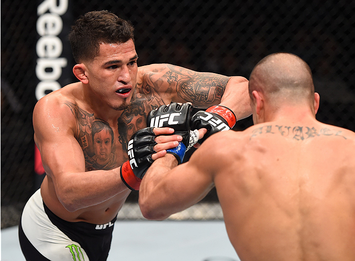 BOSTON, MA - JANUARY 17:  (L-R) Anthony Pettis elbows Eddie Alvarez in their lightweight bout during the UFC Fight Night event inside TD Garden on January 17, 2016 in Boston, Massachusetts. (Photo by Jeff Bottari/Zuffa LLC/Zuffa LLC via Getty Images)