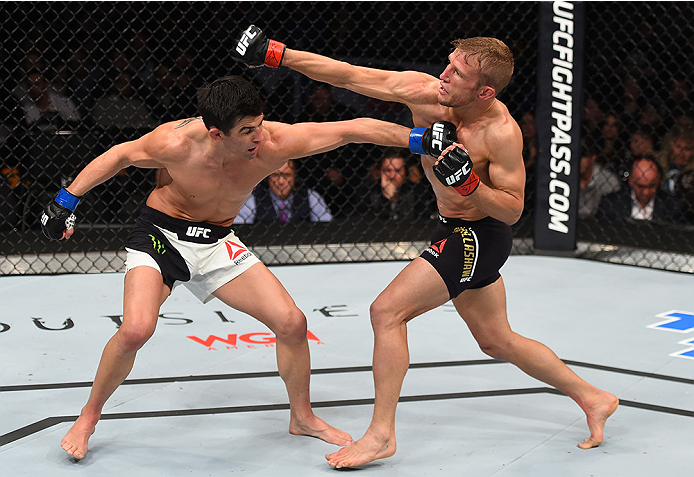 BOSTON, MA - JANUARY 17:  (R-L) TJ Dillashaw and Dominick Cruz trade punches in their UFC bantamweight championship bout during the UFC Fight Night event inside TD Garden on January 17, 2016 in Boston, Massachusetts. (Photo by Jeff Bottari/Zuffa LLC/Zuffa