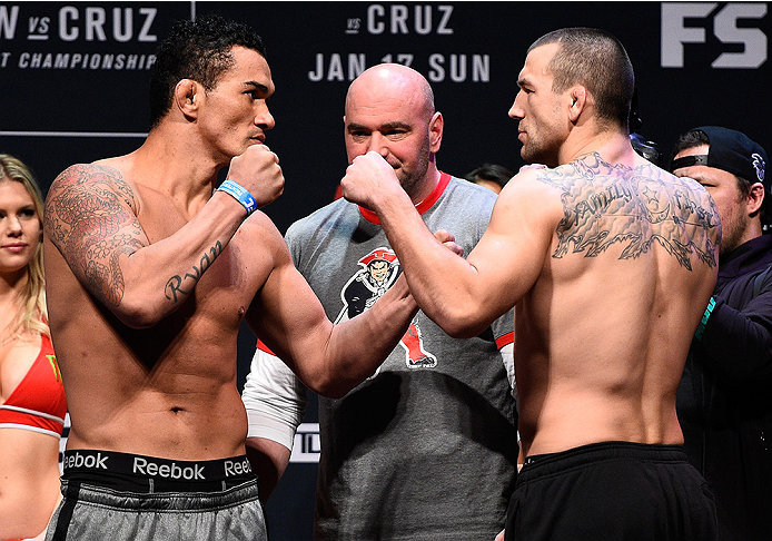 BOSTON, MA - JANUARY 16:  (L-R) Opponents Francimar Barroso of Brazil and Elvis Mutapcic of Bosnia face off during the UFC weigh-in at the Wang Theatre on January 16, 2016 in Boston, Massachusetts. (Photo by Jeff Bottari/Zuffa LLC/Zuffa LLC via Getty Imag