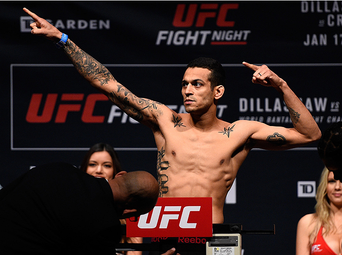 BOSTON, MA - JANUARY 16:  Joey Gomez weighs in during the UFC weigh-in at the Wang Theatre on January 16, 2016 in Boston, Massachusetts. (Photo by Jeff Bottari/Zuffa LLC/Zuffa LLC via Getty Images)
