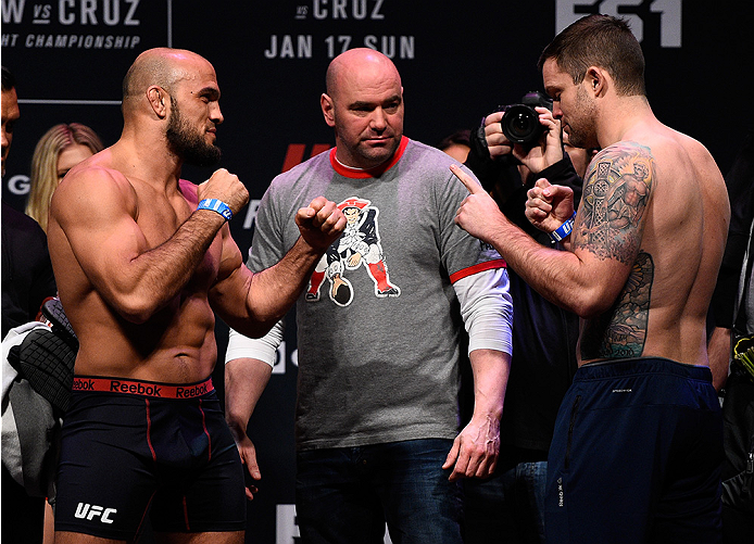 BOSTON, MA - JANUARY 16:  (L-R) Opponents Ilir Latifi of Sweden and Sean OConnell face off during the UFC weigh-in at the Wang Theatre on January 16, 2016 in Boston, Massachusetts. (Photo by Jeff Bottari/Zuffa LLC/Zuffa LLC via Getty Images)