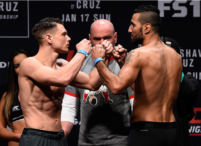 BOSTON, MA - JANUARY 16:  (L-R) Opponents Chris Wade and Mehdi Bahgdad of France face off during the UFC weigh-in at the Wang Theatre on January 16, 2016 in Boston, Massachusetts. (Photo by Jeff Bottari/Zuffa LLC/Zuffa LLC via Getty Images)