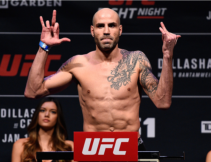BOSTON, MA - JANUARY 16:  Ben Saunders weighs in during the UFC weigh-in at the Wang Theatre on January 16, 2016 in Boston, Massachusetts. (Photo by Jeff Bottari/Zuffa LLC/Zuffa LLC via Getty Images)