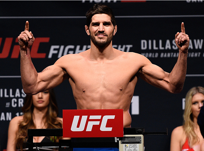 BOSTON, MA - JANUARY 16:  Patrick Cote of Canada weighs in during the UFC weigh-in at the Wang Theatre on January 16, 2016 in Boston, Massachusetts. (Photo by Jeff Bottari/Zuffa LLC/Zuffa LLC via Getty Images)