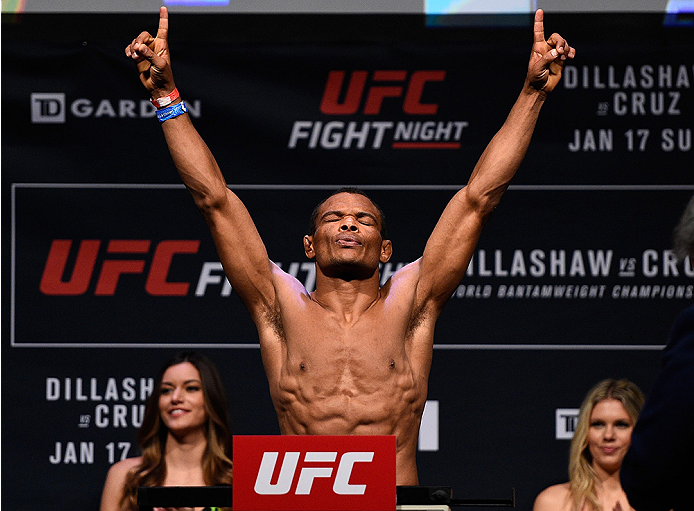 BOSTON, MA - JANUARY 16:  Francisco Trinaldo of Brazil weighs in during the UFC weigh-in at the Wang Theatre on January 16, 2016 in Boston, Massachusetts. (Photo by Jeff Bottari/Zuffa LLC/Zuffa LLC via Getty Images)