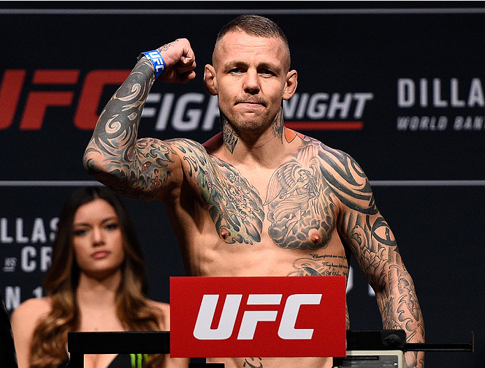 BOSTON, MA - JANUARY 16:  Ross Pearson of England weighs in during the UFC weigh-in at the Wang Theatre on January 16, 2016 in Boston, Massachusetts. (Photo by Jeff Bottari/Zuffa LLC/Zuffa LLC via Getty Images)