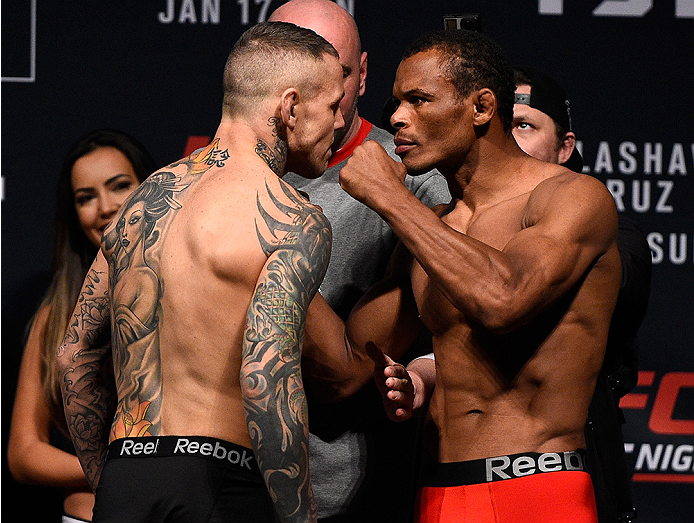 BOSTON, MA - JANUARY 16:  (L-R) Opponents Ross Pearson of England and Francisco Trinaldo of Brazil face off during the UFC weigh-in at the Wang Theatre on January 16, 2016 in Boston, Massachusetts. (Photo by Jeff Bottari/Zuffa LLC/Zuffa LLC via Getty Imag