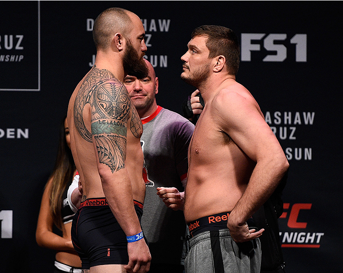 BOSTON, MA - JANUARY 16:  (L-R) Opponents Travis Browne and Matt Mitrione face off during the UFC weigh-in at the Wang Theatre on January 16, 2016 in Boston, Massachusetts. (Photo by Jeff Bottari/Zuffa LLC/Zuffa LLC via Getty Images)