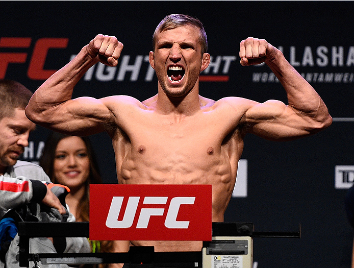 BOSTON, MA - JANUARY 16:  TJ Dillashaw weighs in during the UFC weigh-in at the Wang Theatre on January 16, 2016 in Boston, Massachusetts. (Photo by Jeff Bottari/Zuffa LLC/Zuffa LLC via Getty Images)