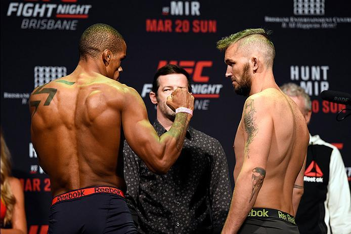 BRISBANE, AUSTRALIA - MARCH 19:  (L-R) Opponents Alan Patrick of Brazil and Damien Brown of Australia face off during the UFC Fight Night weigh-in at the Brisbane Entertainment Centre on March 19, 2016 in Brisbane, Australia. (Photo by Josh Hedges/Zuffa L