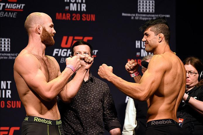 BRISBANE, AUSTRALIA - MARCH 19:  (L-R) Opponents Rich Walsh of Australia and Viscardi Andrade of Brazil face off during the UFC Fight Night weigh-in at the Brisbane Entertainment Centre on March 19, 2016 in Brisbane, Australia. (Photo by Josh Hedges/Zuffa