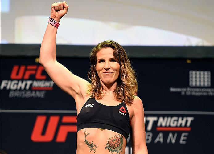 BRISBANE, AUSTRALIA - MARCH 19:  Leslie Smith weighs in during the UFC Fight Night weigh-in at the Brisbane Entertainment Centre on March 19, 2016 in Brisbane, Australia. (Photo by Josh Hedges/Zuffa LLC/Zuffa LLC via Getty Images)