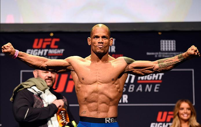 BRISBANE, AUSTRALIA - MARCH 19:   Hector Lombard of Cuba weighs in during the UFC Fight Night weigh-in at the Brisbane Entertainment Centre on March 19, 2016 in Brisbane, Australia. (Photo by Josh Hedges/Zuffa LLC/Zuffa LLC via Getty Images)