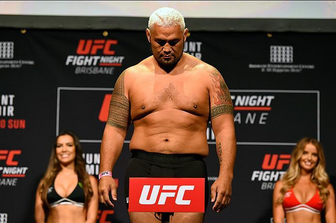 BRISBANE, AUSTRALIA - MARCH 19:   Mark Hunt of New Zealand weighs in during the UFC Fight Night weigh-in at the Brisbane Entertainment Centre on March 19, 2016 in Brisbane, Australia. (Photo by Josh Hedges/Zuffa LLC/Zuffa LLC via Getty Images)