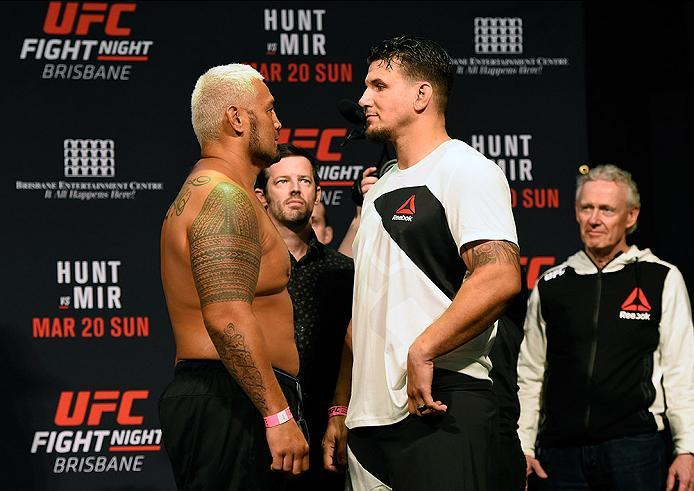 BRISBANE, AUSTRALIA - MARCH 19:   (L-R) Opponents Mark Hunt of New Zealand and Frank Mir face off during the UFC Fight Night weigh-in at the Brisbane Entertainment Centre on March 19, 2016 in Brisbane, Australia. (Photo by Josh Hedges/Zuffa LLC/Zuffa LLC