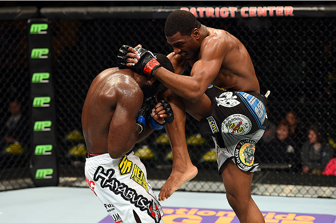 FAIRFAX, VA - APRIL 04:   (R-L) Ron Stallings lands a knee to Justin Jones in their middleweight fight during the UFC Fight Night event at the Patriot Center on April 4, 2015 in Fairfax, Virginia. (Photo by Josh Hedges/Zuffa LLC/Zuffa LLC via Getty Images