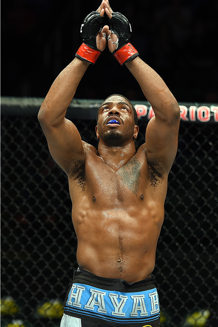 FAIRFAX, VA - APRIL 04:   Ron Stallings celebrates after defeating Justin Jones in their middleweight fight during the UFC Fight Night event at the Patriot Center on April 4, 2015 in Fairfax, Virginia. (Photo by Josh Hedges/Zuffa LLC/Zuffa LLC via Getty I