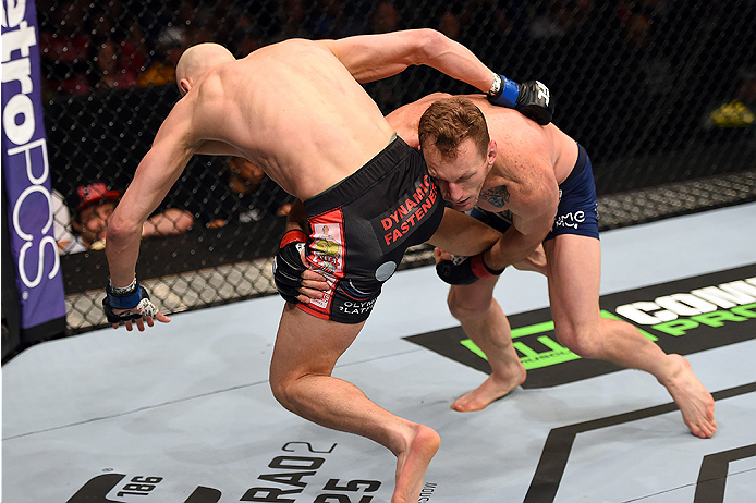 FAIRFAX, VA - APRIL 04:   (R-L) Gray Maynard attempts a takedown against Alexander Yakovlev in their lightweight fight during the UFC Fight Night event at the Patriot Center on April 4, 2015 in Fairfax, Virginia. (Photo by Josh Hedges/Zuffa LLC/Zuffa LLC