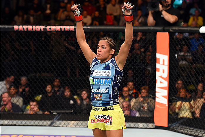 FAIRFAX, VA - APRIL 04:  Juliana Pena celebrates after defeating Milana Dudieva in their women's bantamweight fight during the UFC Fight Night event at the Patriot Center on April 4, 2015 in Fairfax, Virginia. (Photo by Josh Hedges/Zuffa LLC/Zuffa LLC via