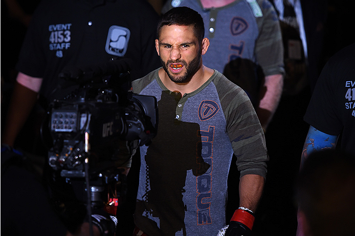 FAIRFAX, VA - APRIL 04:  Chad Mendes enters the arena before facing Ricardo Lamas in their featherweight fight during the UFC Fight Night event at the Patriot Center on April 4, 2015 in Fairfax, Virginia. (Photo by Josh Hedges/Zuffa LLC/Zuffa LLC via Gett