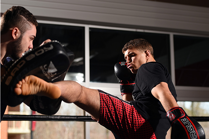 FAIRFAX, VA - APRIL 02:   Al Iaquinta holds an open training session for fans and media at the UFC Gym on April 2, 2015 in Fairfax, Virginia. (Photo by Josh Hedges/Zuffa LLC/Zuffa LLC via Getty Images)