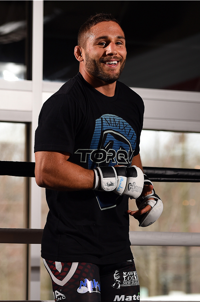 FAIRFAX, VA - APRIL 02:   Chad Mendes holds an open training session for fans and media at the UFC Gym on April 2, 2015 in Fairfax, Virginia. (Photo by Josh Hedges/Zuffa LLC/Zuffa LLC via Getty Images)