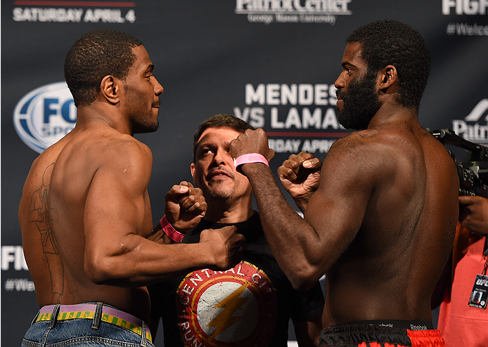 FAIRFAX, VA - APRIL 03:   (L-R) Opponents Ron Stallings and Justin Jones face off during the UFC weigh-in at the Patriot Center on April 3, 2015 in Fairfax, Virginia. (Photo by Josh Hedges/Zuffa LLC/Zuffa LLC via Getty Images)