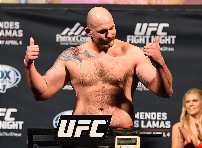 FAIRFAX, VA - APRIL 03:   Timothy Johnson weighs in during the UFC weigh-in at the Patriot Center on April 3, 2015 in Fairfax, Virginia. (Photo by Josh Hedges/Zuffa LLC/Zuffa LLC via Getty Images)