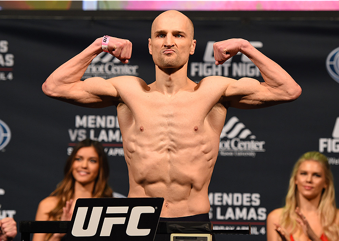 FAIRFAX, VA - APRIL 03:   Alexander Yakovlev of Russia weighs in during the UFC weigh-in at the Patriot Center on April 3, 2015 in Fairfax, Virginia. (Photo by Josh Hedges/Zuffa LLC/Zuffa LLC via Getty Images)